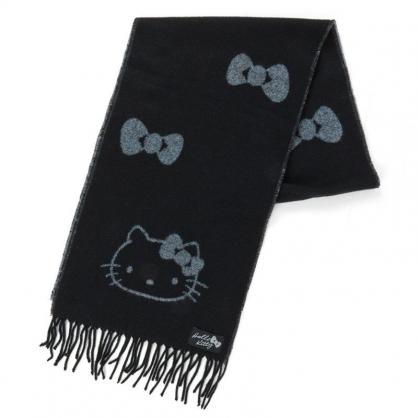 〔小禮堂〕Hello Kitty 成人短絨流蘇圍巾《黑灰.蝴蝶結》206x30cm.脖圍.2019冬日系列
