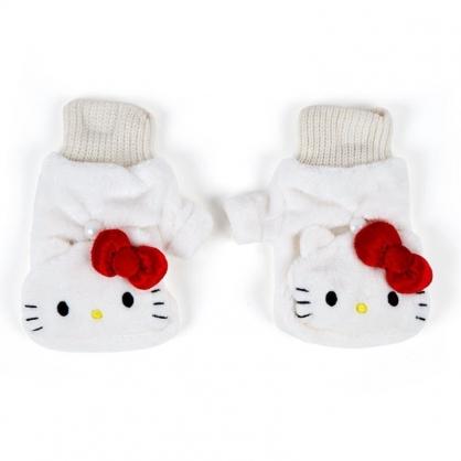 〔小禮堂〕Hello Kitty 成人造型兩用絨毛保暖手套《白.大臉》造型手套.2019冬日系列