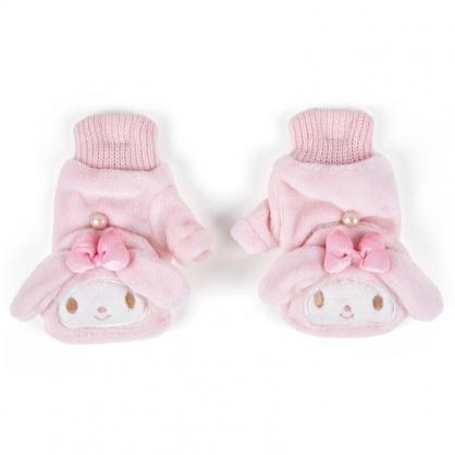 〔小禮堂〕美樂蒂 成人造型兩用絨毛保暖手套《粉.大臉》造型手套.2019冬日系列
