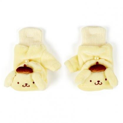 〔小禮堂〕布丁狗 成人造型兩用絨毛保暖手套《黃.大臉》造型手套.2019冬日系列