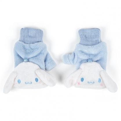 〔小禮堂〕大耳狗 成人造型兩用絨毛保暖手套《藍白.大臉》造型手套.2019冬日系列