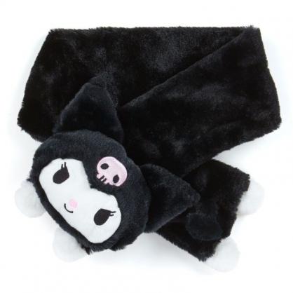 〔小禮堂〕酷洛米 成人造型絨毛保暖圍巾《黑.大臉》脖圍.2019冬日系列