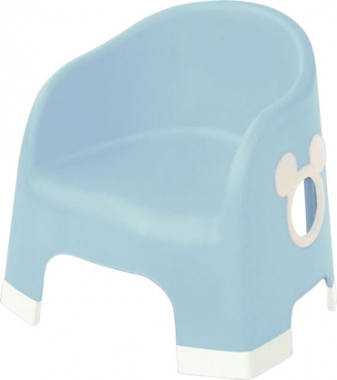〔小禮堂〕迪士尼 米奇 日製兒童塑膠浴椅《淡藍.大臉》矮凳.塑膠椅.用餐椅