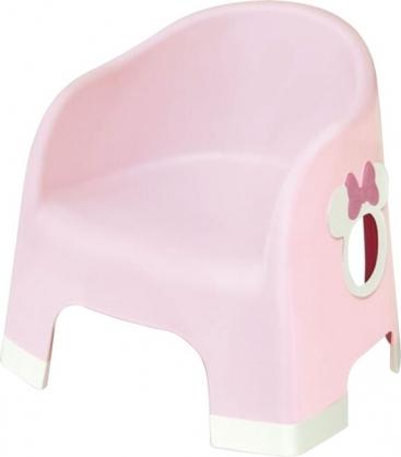 〔小禮堂〕迪士尼 米妮 日製兒童塑膠浴椅《淡粉.大臉》矮凳.塑膠椅.用餐椅