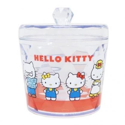 〔小禮堂〕Hello Kitty 圓形壓克力拿蓋收納罐《紅.家人》置物罐.棉花罐.收納盒
