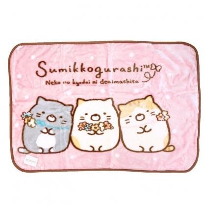 〔小禮堂〕角落生物 貓咪 圓角毛毯披肩《粉棕.戴花圈》70x100cm.薄毯.單人毯