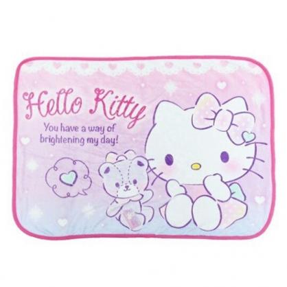 〔小禮堂〕Hello Kitty 圓角毛毯披肩《粉紫.小熊》70x100cm.薄毯.單人毯
