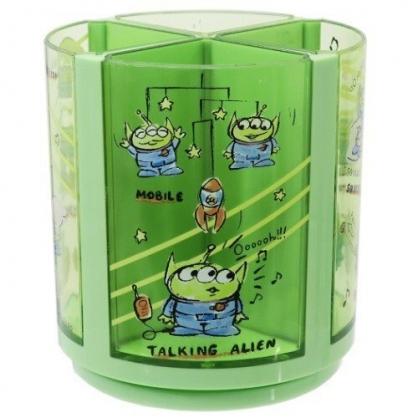 〔小禮堂〕迪士尼 三眼怪 圓形塑膠可拆四格旋轉收納筒《綠.火箭》轉轉筆筒.刷具筒