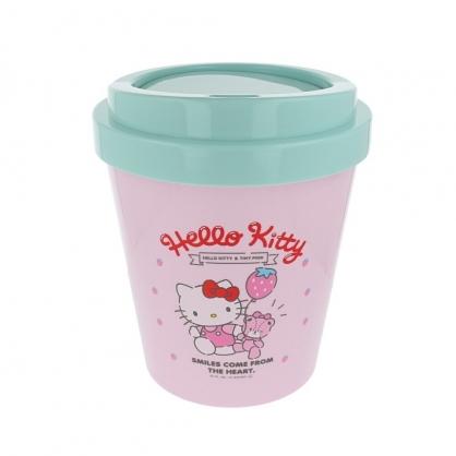 〔小禮堂〕Hello Kitty 圓形塑膠平衡蓋垃圾筒《粉綠.草莓汽球》收納筒.置物筒