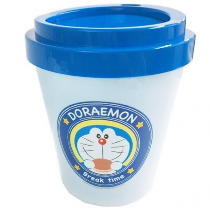 〔小禮堂〕哆啦A夢 圓形塑膠平衡蓋垃圾筒《藍.銅鑼燒》收納筒.置物筒