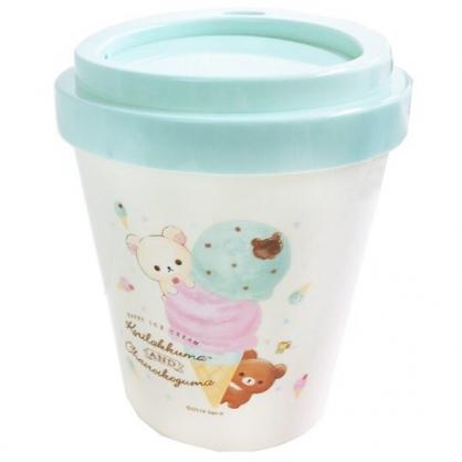 〔小禮堂〕懶懶熊 拉拉熊 圓形塑膠平衡蓋垃圾筒《米綠.冰淇淋》收納筒.置物筒