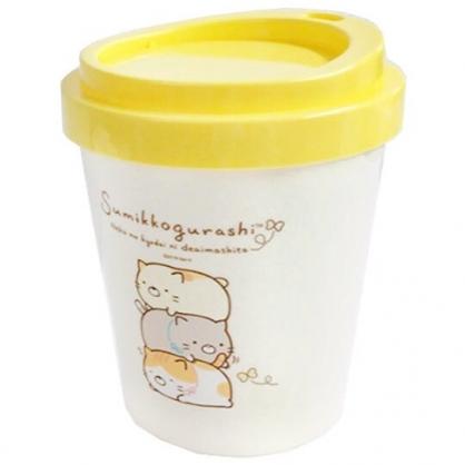〔小禮堂〕角落生物 貓咪 圓形塑膠平衡蓋垃圾筒《米黃.疊趴》收納筒.置物筒