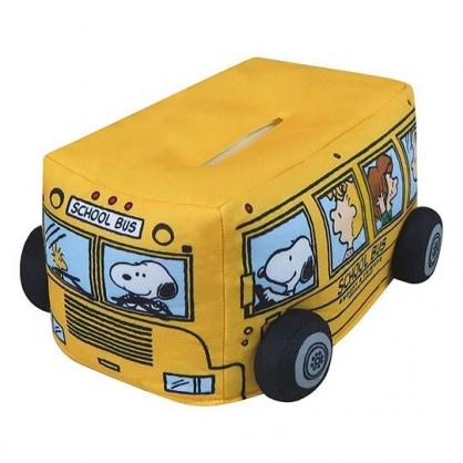 〔小禮堂〕史努比 巴士造型厚棉面紙套《黃》面紙盒.紙巾套