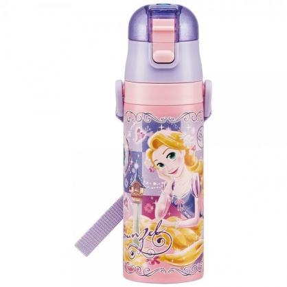 〔小禮堂〕迪士尼 長髮公主 超輕量彈蓋不鏽鋼保溫瓶附背帶《紫.撐頭》470ml.兒童水壺.水瓶