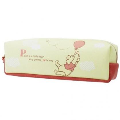 〔小禮堂〕迪士尼 小熊維尼 皮質拉鍊筆袋《黃橘.拉氣球》化妝包.收納包.鉛筆盒