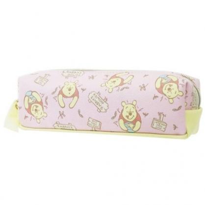 〔小禮堂〕迪士尼 小熊維尼 皮質拉鍊筆袋《粉黃.告示牌》化妝包.收納包.鉛筆盒