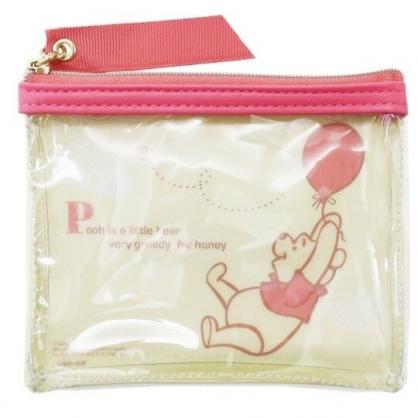 〔小禮堂〕迪士尼 小熊維尼 方形防水透明零錢包《黃粉.拉汽球》收納包.耳機包