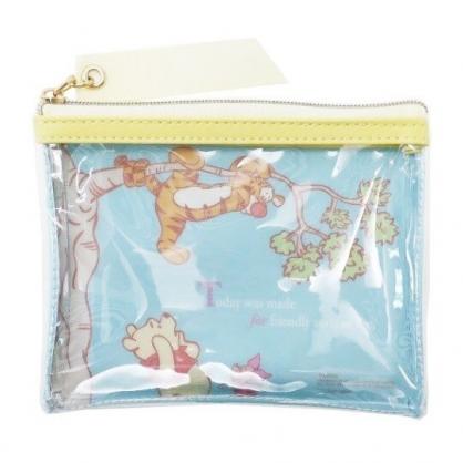 〔小禮堂〕迪士尼 小熊維尼 方形防水透明零錢包《綠黃.爬樹》收納包.耳機包