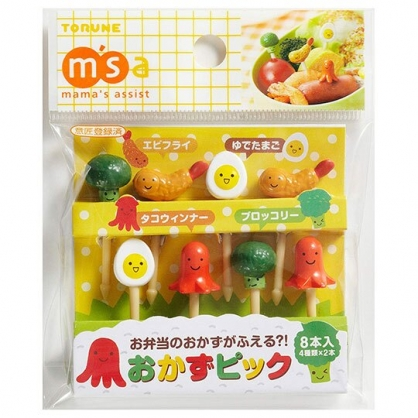〔小禮堂〕日本TORUNE 食物造型食物裝飾叉組《8入.紅綠橘》甜點叉.水果叉