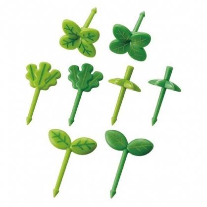 〔小禮堂〕日本TORUNE 植物造型食物裝飾叉組《8入.綠》甜點叉.水果叉