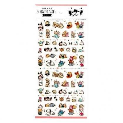 〔小禮堂〕迪士尼 TsumTsum 造型燙金貼紙組《粉.大臉》手帳貼紙.黏貼用品