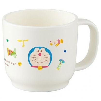 〔小禮堂〕哆啦A夢 日製單耳塑膠小水杯《白.大臉》180ml.漱口杯.塑膠杯