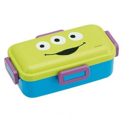 〔小禮堂〕迪士尼 三眼怪 日製方形四面扣便當盒《綠紫.大臉》530ml.保鮮盒.餐盒