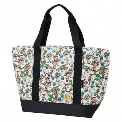 〔小禮堂〕迪士尼 玩具總動員 橫式尼龍拉鍊保冷側背袋《黑米.角色滿版》購物袋.肩背袋.野餐袋