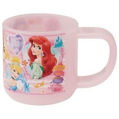 〔小禮堂〕迪士尼 公主 日製單耳塑膠小水杯《粉.框框角色》180ml.漱口杯.塑膠杯