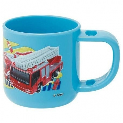〔小禮堂〕TOMICA小汽車 日製單耳塑膠小水杯《藍紅.消防車》180ml.漱口杯.塑膠杯