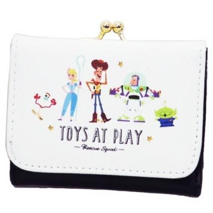 〔小禮堂〕迪士尼 玩具總動員 皮質口金短夾《黑白.文字》零錢包.皮夾.皮包