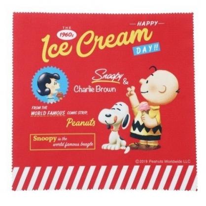 〔小禮堂〕史努比 方形眼鏡布《紅黃.冰淇淋》20x20cm.擦拭布.拭鏡布