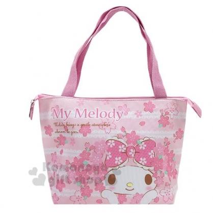 〔小禮堂〕美樂蒂 橫式尼龍拉鍊保冷便當袋《粉.櫻花》手提袋.野餐袋