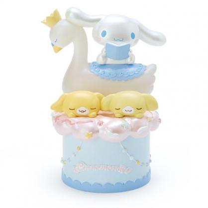 〔小禮堂〕大耳狗 天鵝造型塑膠小夜燈《藍棕》擺飾燈.床頭燈.純白天鵝系列