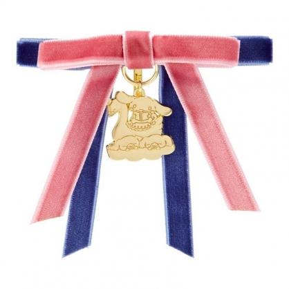 〔小禮堂〕大耳狗 造型雙緞帶金屬吊牌鐵製髮夾《粉藍》瀏海夾.髮飾.純白天鵝系列