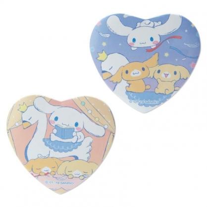 〔小禮堂〕大耳狗 愛心造型塑膠徽章組《藍棕》別針.胸章.純白天鵝系列