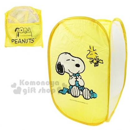 〔小禮堂〕史努比 折疊網狀洗衣籃《黃.抱毛毯》衣物收納籃.置物籃