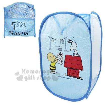 〔小禮堂〕史努比 折疊網狀洗衣籃《藍.狗屋》衣物收納籃.置物籃