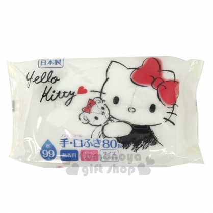 〔小禮堂〕Hello Kitty 日製80抽純水手口濕紙巾包《米黑.抱熊》柔濕巾.清潔用品
