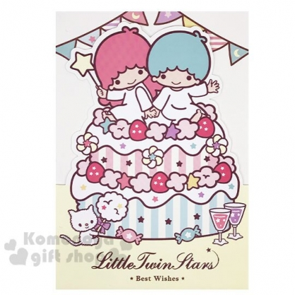 〔小禮堂〕雙子星 造型直式生日卡片《粉綠.坐蛋糕》送禮卡.祝賀卡.節慶卡