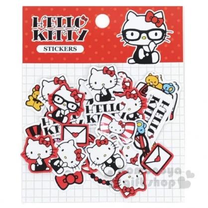 〔小禮堂〕Hello Kitty 造型貼紙組《紅.戴眼鏡》裝飾貼.黏貼用品