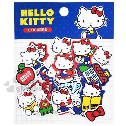 〔小禮堂〕Hello Kitty 造型貼紙組《藍.側坐》裝飾貼.黏貼用品