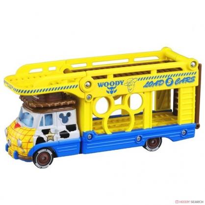 〔小禮堂〕迪士尼 玩具總動員 胡迪 TOMICA小汽車連結運輸車《黃藍》模型.公仔.玩具車