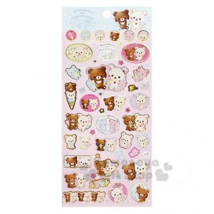 〔小禮堂〕懶懶熊 拉拉熊 日製造型燙金貼紙組《粉綠.冰淇淋》裝飾貼紙.黏貼用品