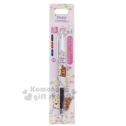 〔小禮堂〕懶懶熊 拉拉熊 日製多色原子筆《粉.花朵》0.5mm.三色筆.Pentel EnerGel系列