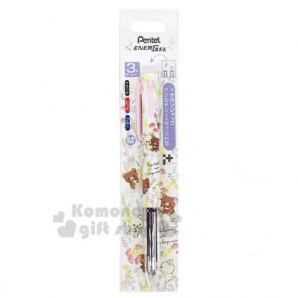 〔小禮堂〕懶懶熊 拉拉熊 日製多色原子筆《白粉.花朵》0.5mm.三色筆.Pentel EnerGel系列