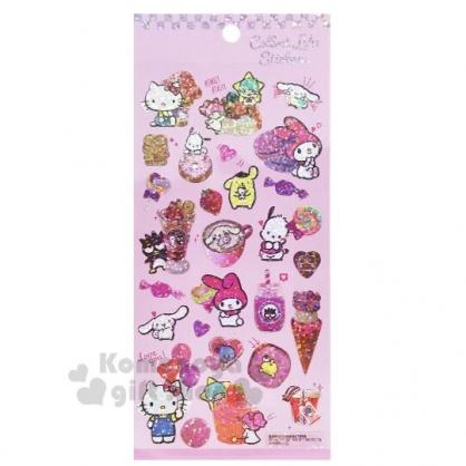 〔小禮堂〕Sanrio大集合 造型鐳射光貼紙組《粉.甜點》裝飾貼.黏貼用品