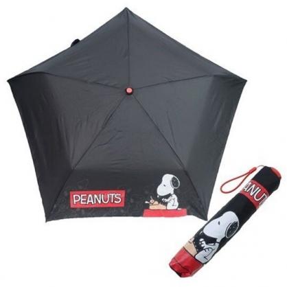 〔小禮堂〕史努比 超輕量折疊雨陽傘《黑紅.打字機》折傘.雨具.雨傘