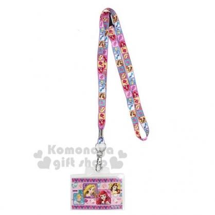 〔小禮堂〕迪士尼 公主 防水透明織帶掛繩證件套《粉紫.愛心》證件夾.車票夾.卡套