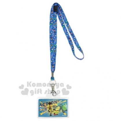 〔小禮堂〕迪士尼 玩具總動員 防水透明織帶掛繩證件套《綠黃.跑步》證件夾.車票夾.卡套